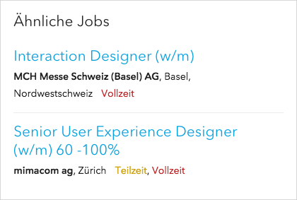 Screenshot vom Feature Ähnliche Jobs