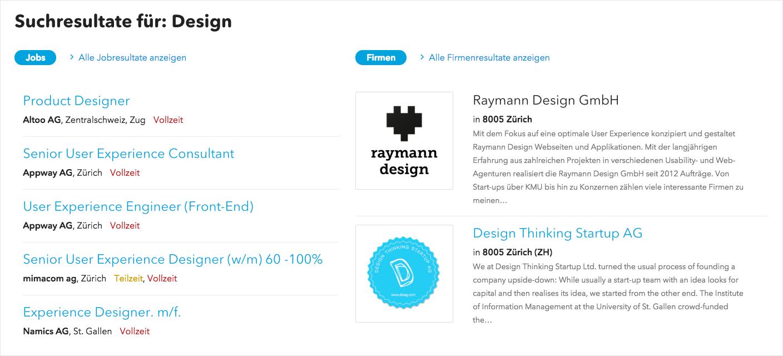 Screesnshot der Suchresultate für die Job-Kategorie Design