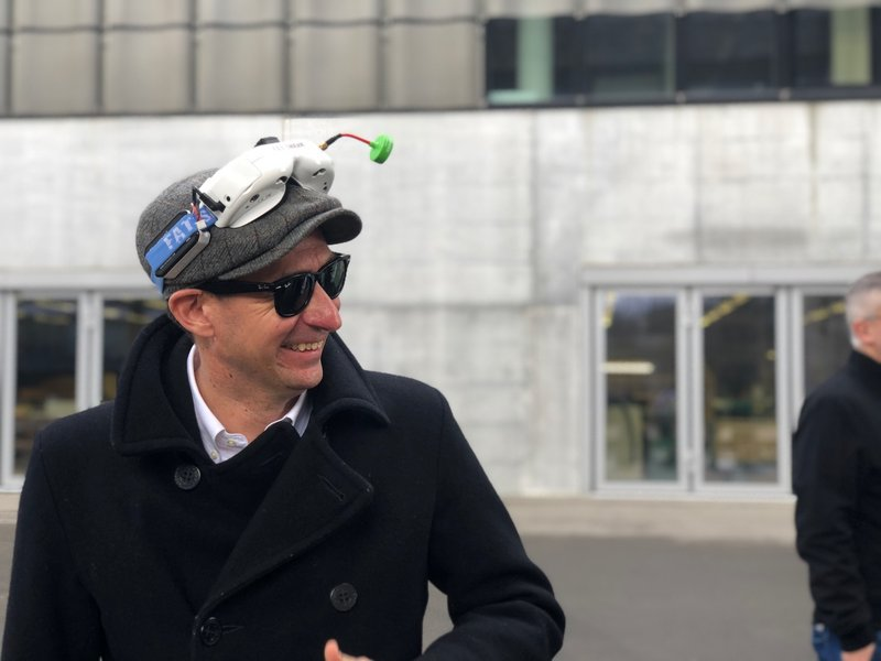 Man with VR Goggles on head